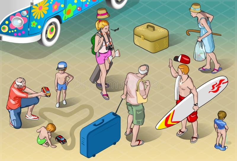 Isometrisk turistfolkuppsättning i semester vektor illustrationer
