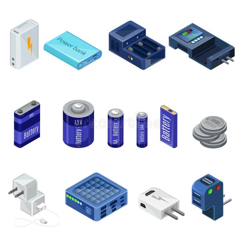 Isometrisk uppladdare- och batterisamling stock illustrationer