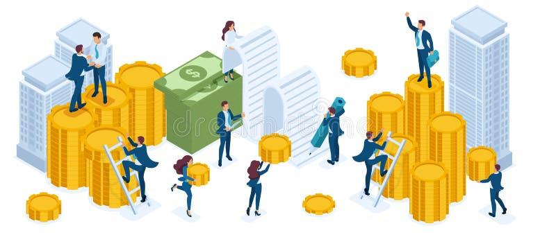 Isometrisk uppsättning av affärsmän, aktieägare, bankirer, inkomsttillväxt, mynt, kassa, fastighetsinvestering stock illustrationer