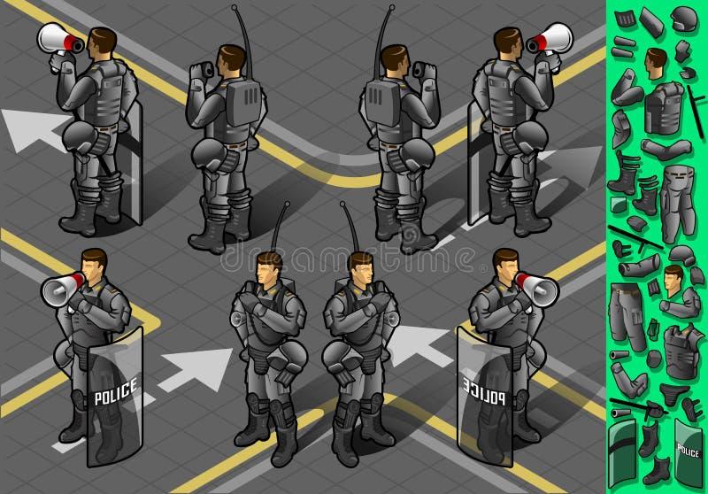 Isometrisk uppsättning av att stå för åtta policemans royaltyfri illustrationer