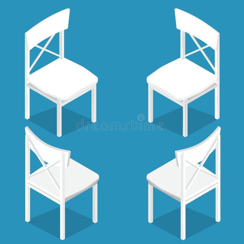 Isometrisk uppsättning av den isometriska teckningen för vit trästol Plan stil royaltyfri illustrationer