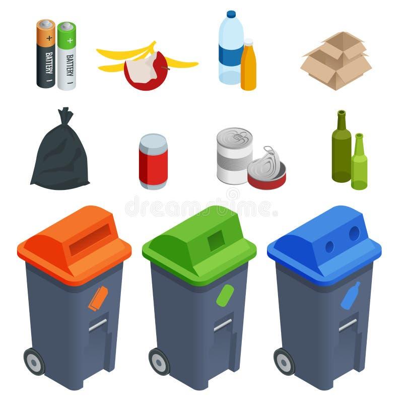 Isometrisk uppsättning av förlorade sorteringcans, segregering Avskiljande av avfalls på soptunnor avfall Färgade förlorade fack  stock illustrationer