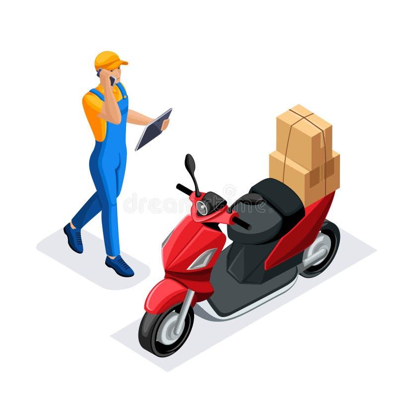 Isometrisk uppsättning av hemsändning eller kurirservice Leveransarbetare eller kurir Leverans på en sparkcykel Begrepp leveranse stock illustrationer