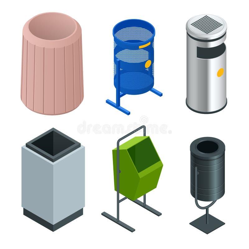 Isometrisk uppsättning av metallkorgfacket för förlorat papper i regeringsställning Töm avfall, rent avskrädefack också vektor fö stock illustrationer