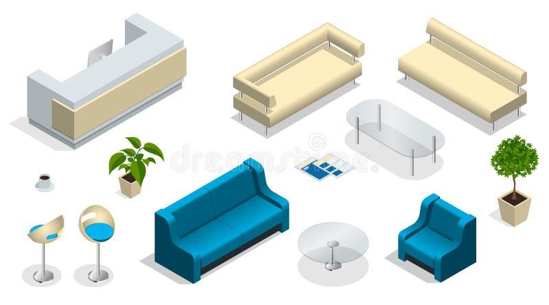 Isometrisk uppsättning av modernt kontorsmöblemang Modern kontorsinre med ett mottagandeskrivbord möblemang kontor vektor illustrationer