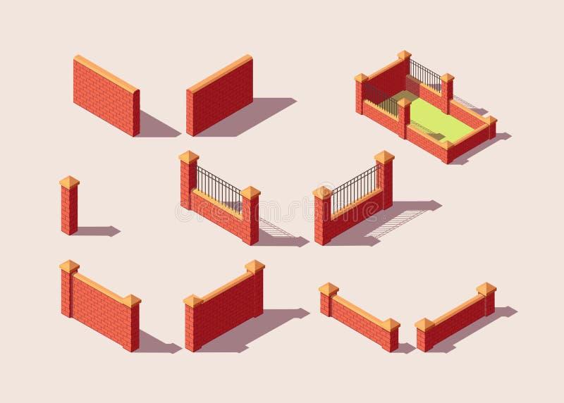 Isometrisk uppsättning av tegelstenstaket Stads- beståndsdelar för stadsöversikt arkivbild