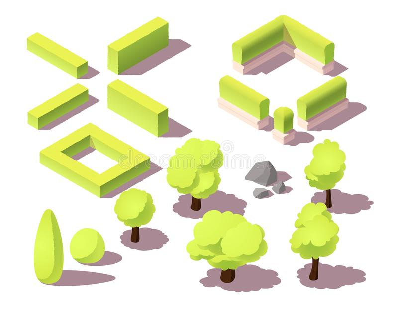 Isometrisk uppsättning av träd och häckar för stadsöversikt Parkera växter, busken, det stads- landskapet som är litet vaggar royaltyfri foto