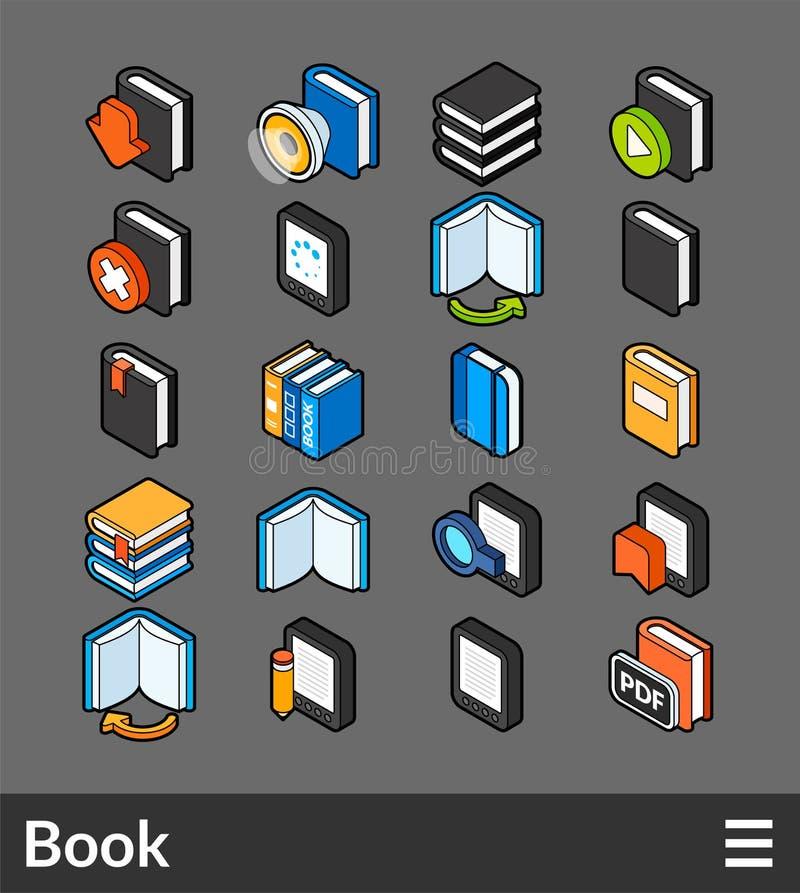 Isometrisk uppsättning för översiktsfärgsymboler royaltyfri illustrationer