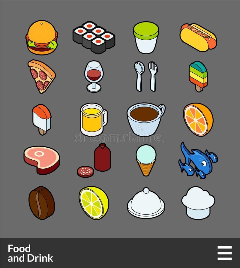 Isometrisk uppsättning för översiktsfärgsymboler stock illustrationer
