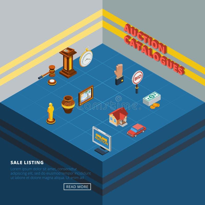 Isometrisk uppsättning för auktionbeståndsdelsymbol stock illustrationer