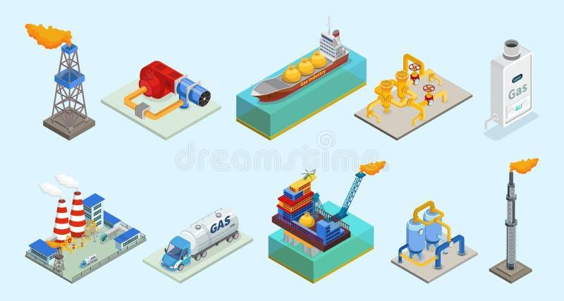 Isometrisk uppsättning för beståndsdelar för naturgasbransch stock illustrationer