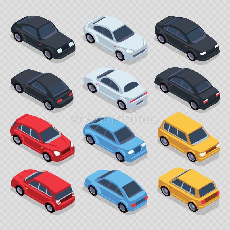 Isometrisk uppsättning för bilar 3d på genomskinlig bakgrund vektor illustrationer