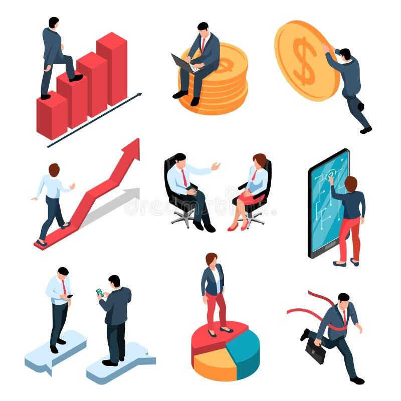 Isometrisk uppsättning för Businesspeople vektor illustrationer