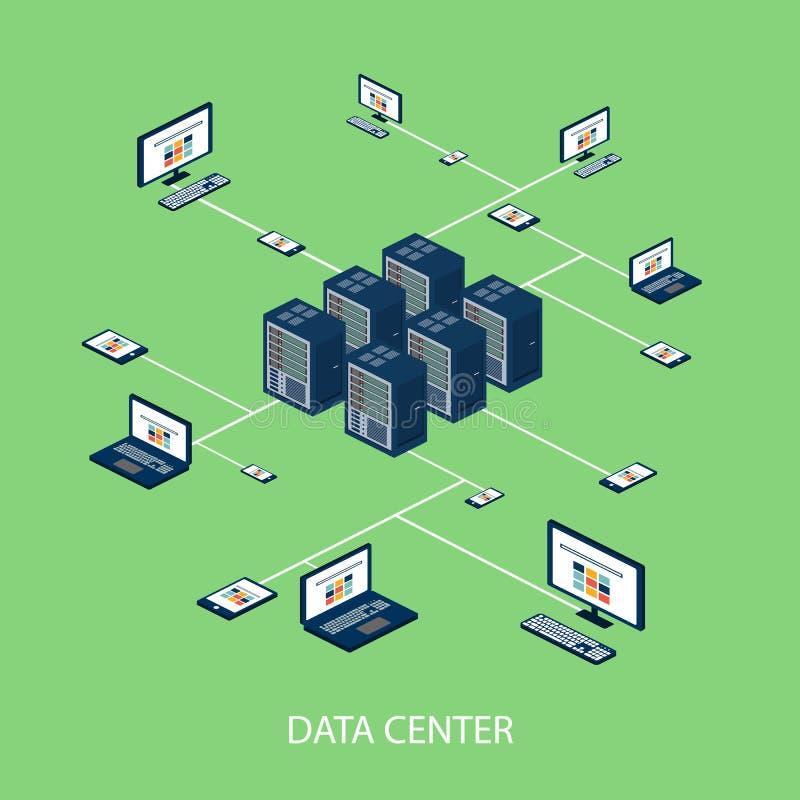 Isometrisk uppsättning för data med datorhall- och nätverksbeståndsdelvektorn arkivfoton