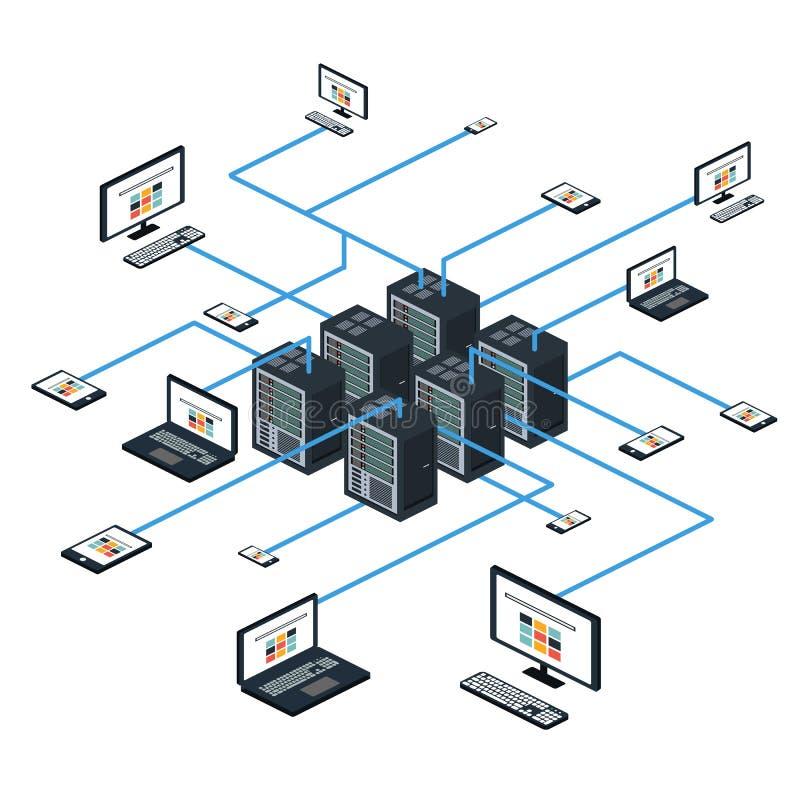 Isometrisk uppsättning för data och vektor för nätverksbeståndsdelar arkivbild