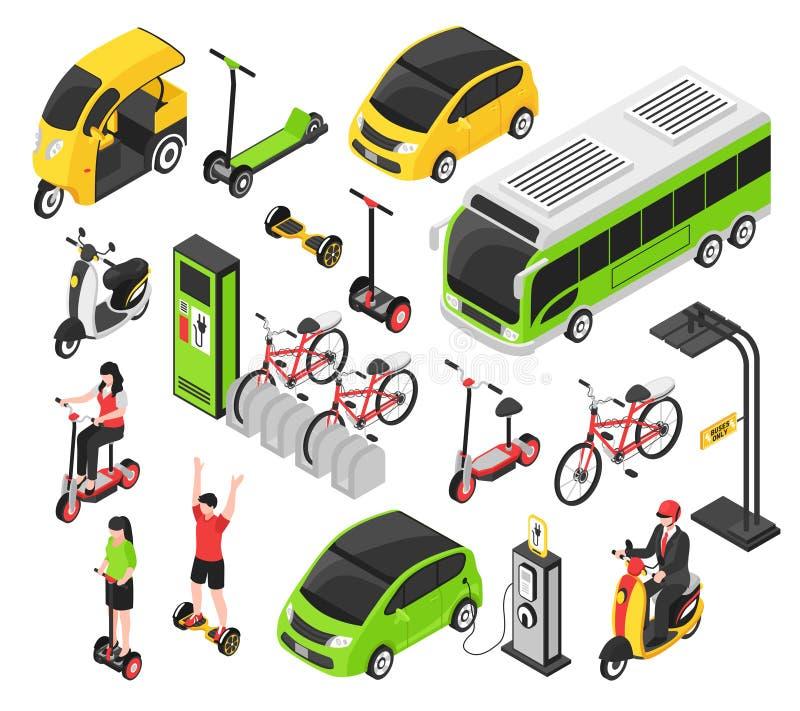 Isometrisk uppsättning för Eco transport royaltyfri illustrationer