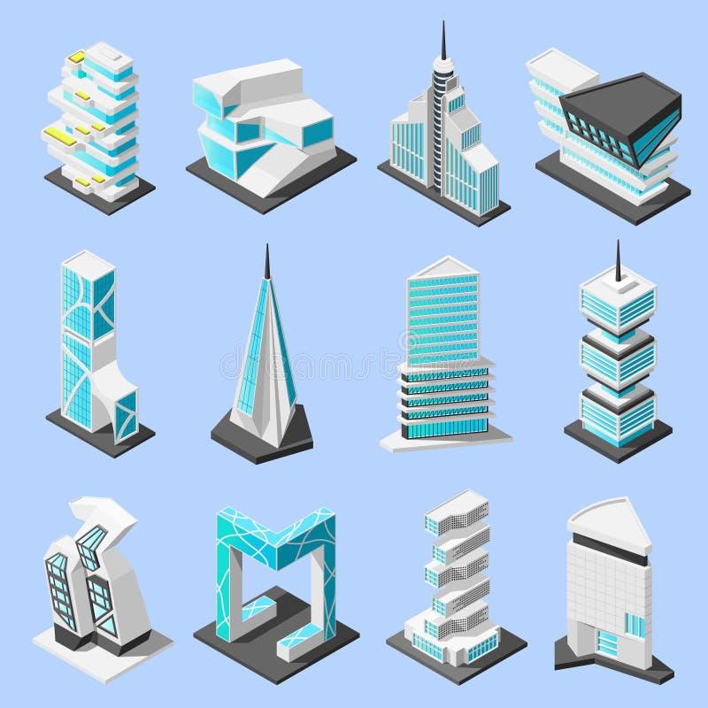 Isometrisk uppsättning för futuristisk arkitektur vektor illustrationer