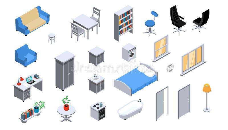 Isometrisk uppsättning för inre objekt royaltyfri illustrationer