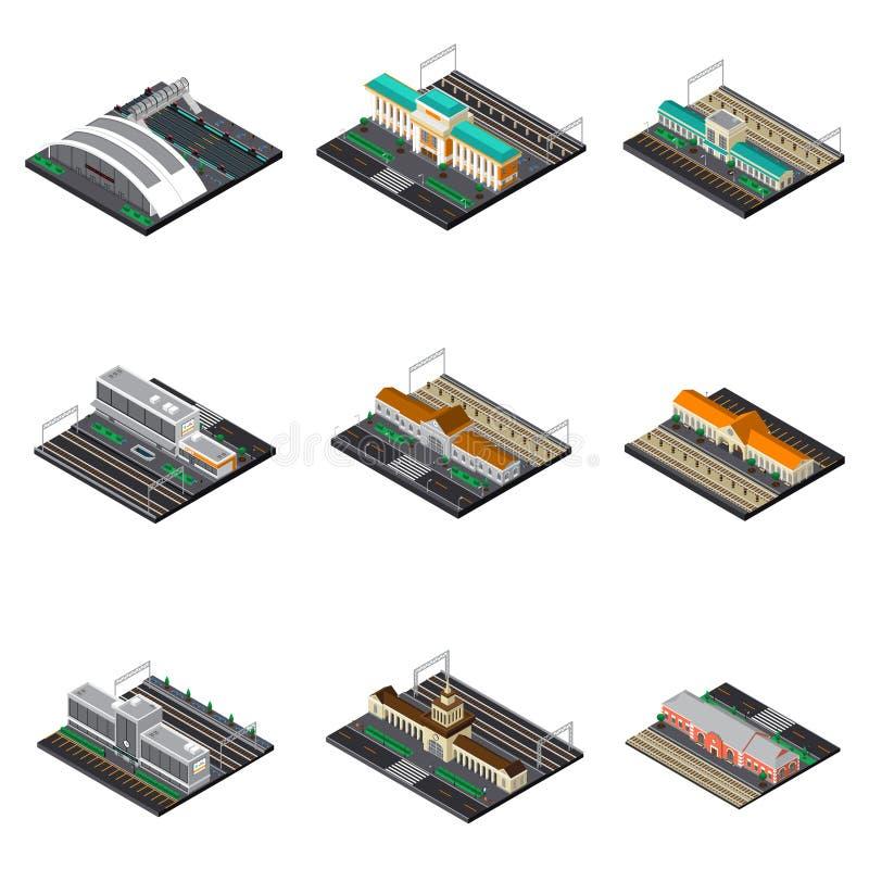 Isometrisk uppsättning för järnvägsstation stock illustrationer