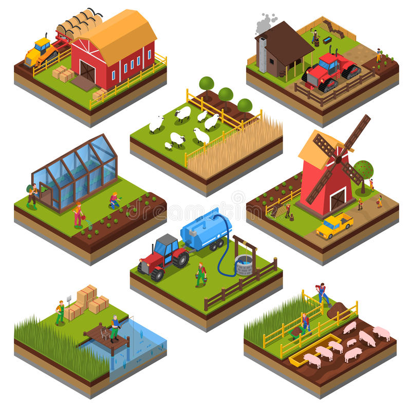 Isometrisk uppsättning för jordbruks- sammansättningar vektor illustrationer