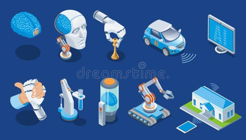 Isometrisk uppsättning för konstgjord intelligens stock illustrationer