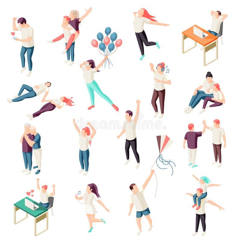 Isometrisk uppsättning för lyckligt folk royaltyfri illustrationer