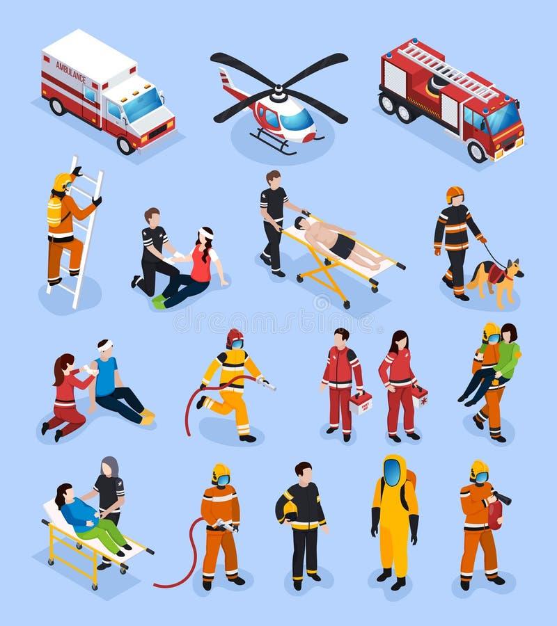 Isometrisk uppsättning för räddningsmanskap royaltyfri illustrationer