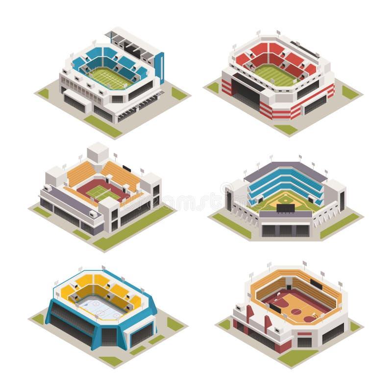 Isometrisk uppsättning för Stadion sportarena stock illustrationer