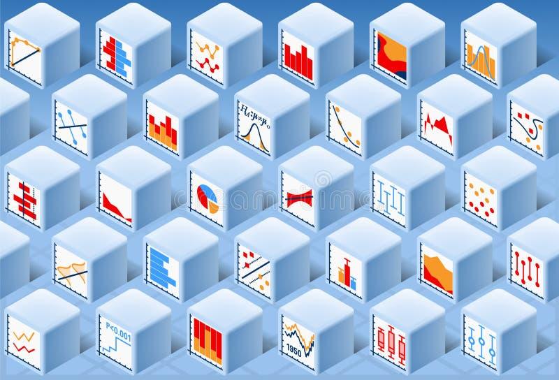 Isometrisk uppsättning för statistik-beståndsdelkub stock illustrationer