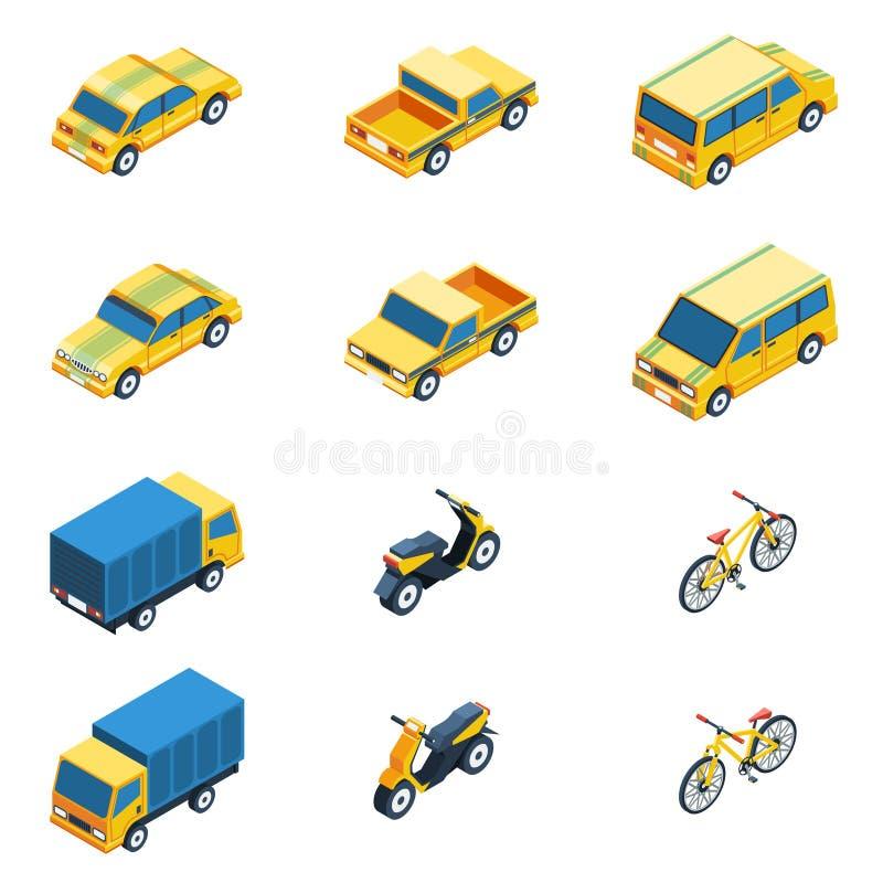 Isometrisk uppsättning för transport royaltyfri illustrationer