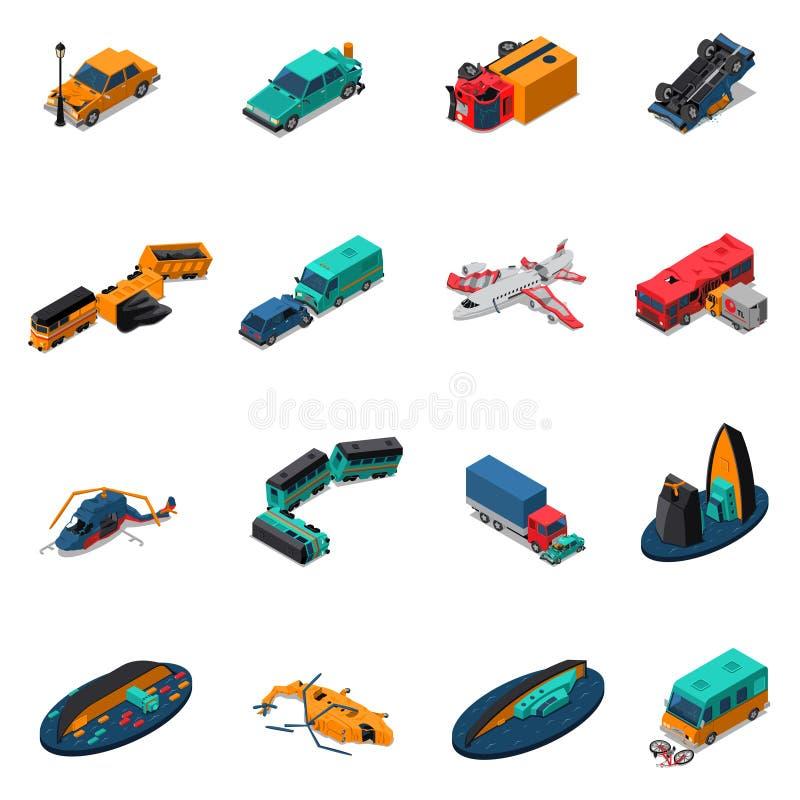 Isometrisk uppsättning för transportolyckor vektor illustrationer