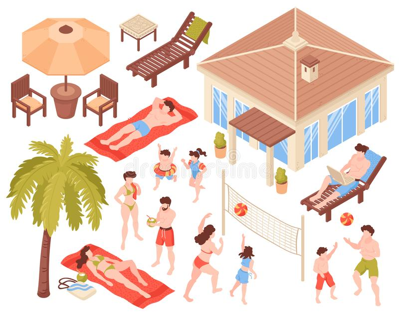 Isometrisk uppsättning för tropiska ferier royaltyfri illustrationer