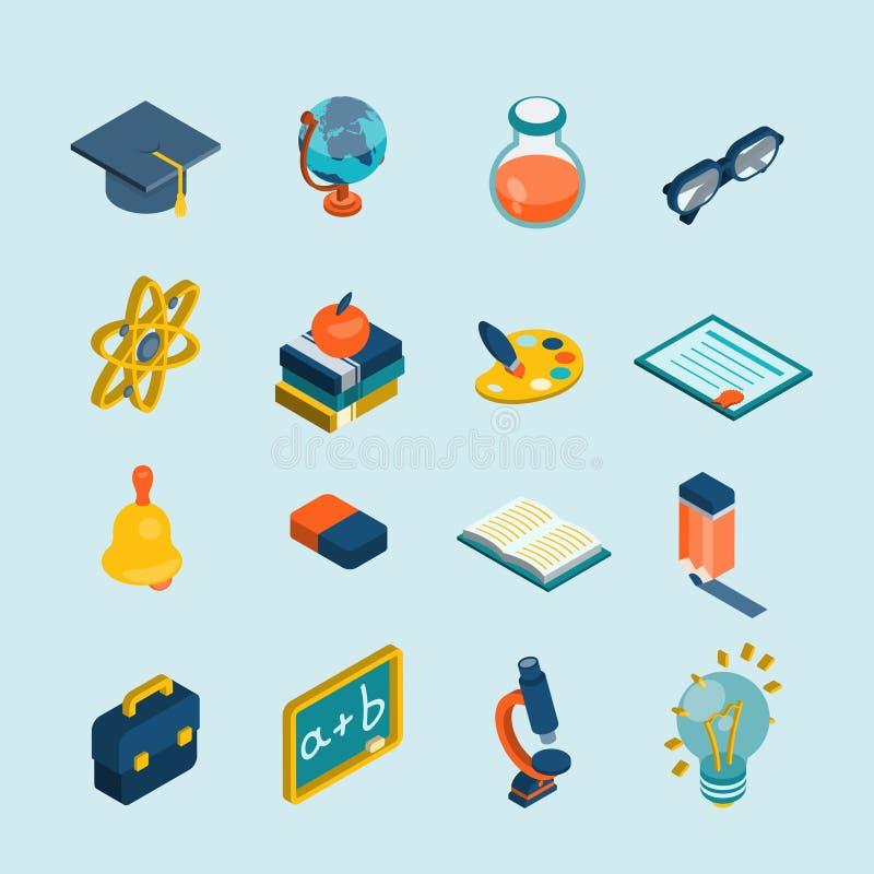 Isometrisk uppsättning för utbildning vektor illustrationer