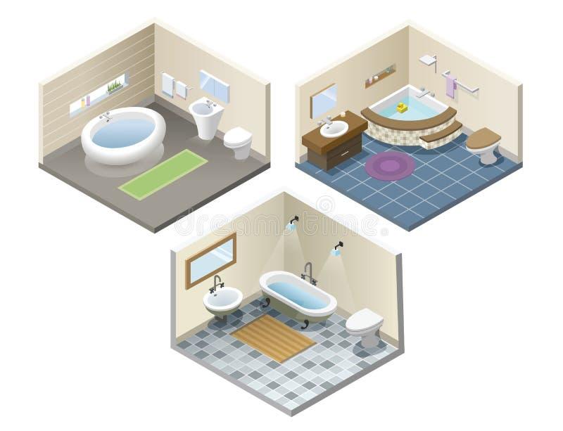 Isometrisk uppsättning för vektor av badrummöblemangico stock illustrationer