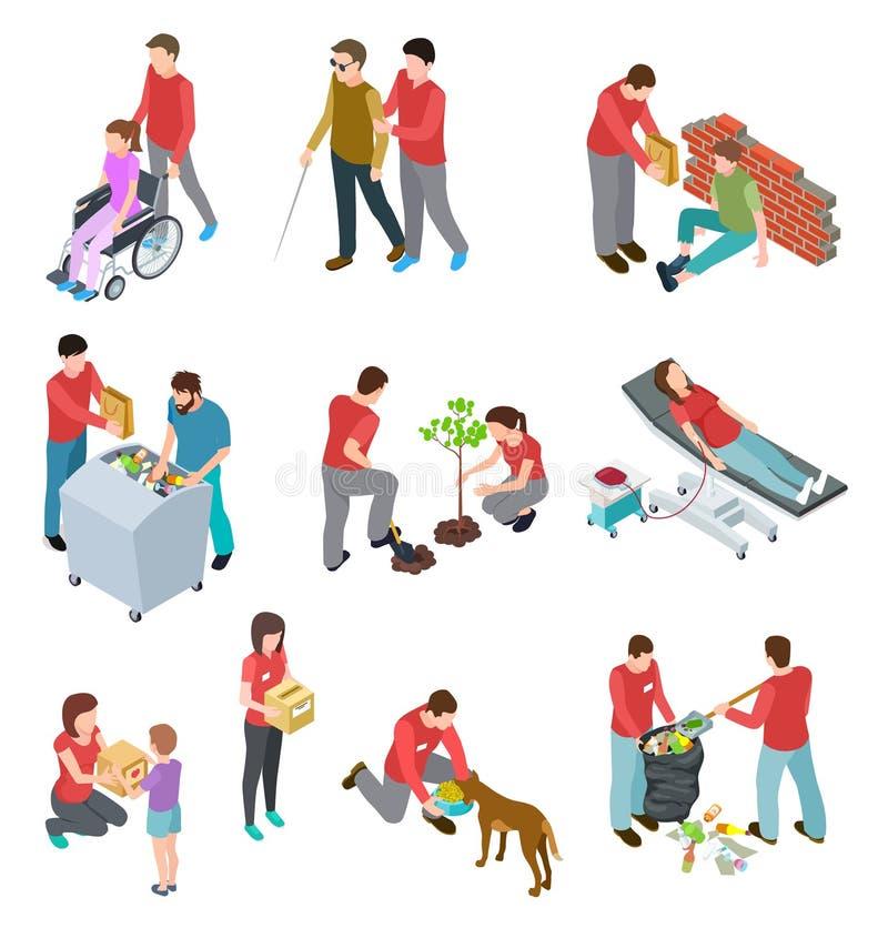 Isometrisk uppsättning för volontärer Folk som att bry sig hemlöns och sjuk åldring Social samhällstjänst, välgörenhetmänniskovän royaltyfri illustrationer