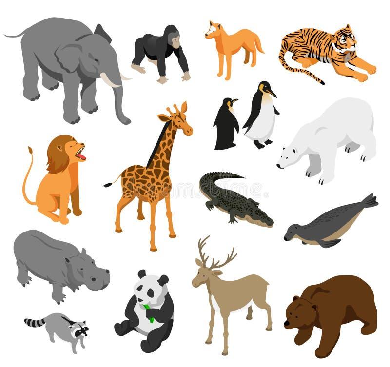 Isometrisk uppsättning för zoodjur royaltyfri illustrationer