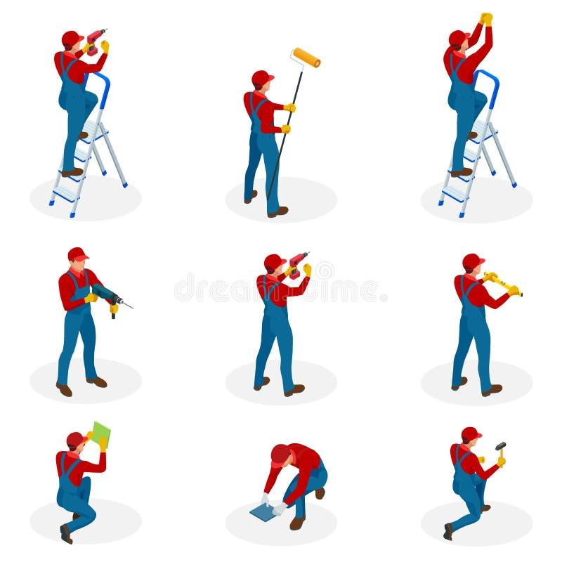 Isometrisk uppsättning med hem- reparationsarbetare som gör underhåll, industriellt leverantörarbetarfolk Isolerat över vit royaltyfri illustrationer