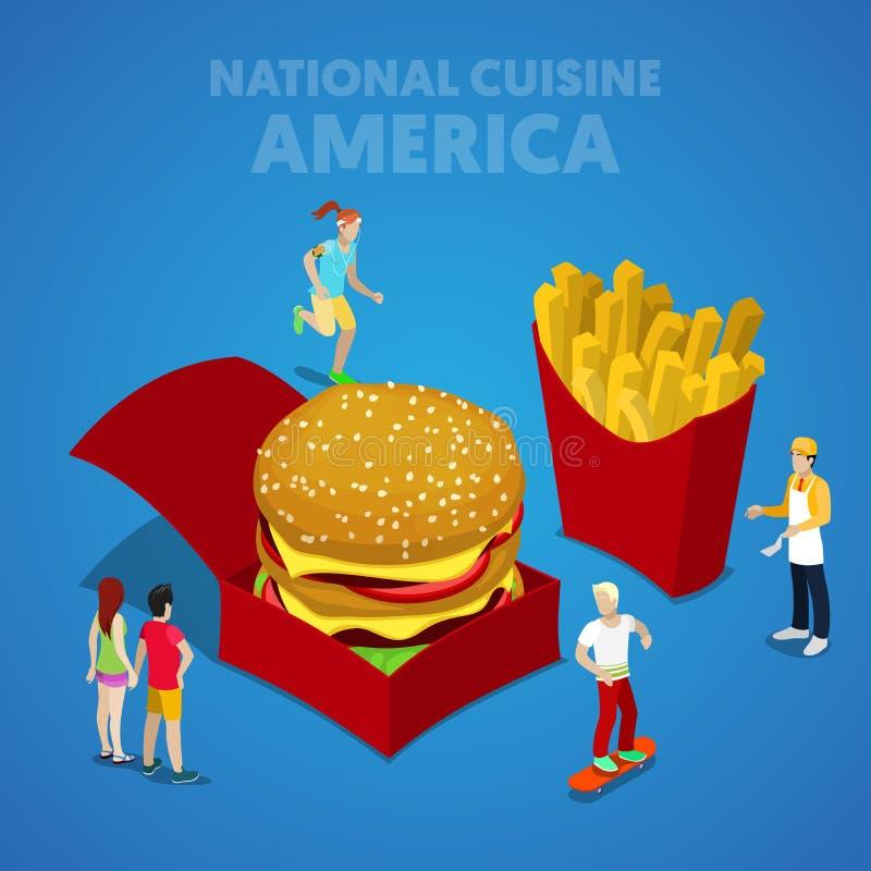 Isometrisk USA nationell kokkonst med snabbmat- och amerikanfolk royaltyfri illustrationer