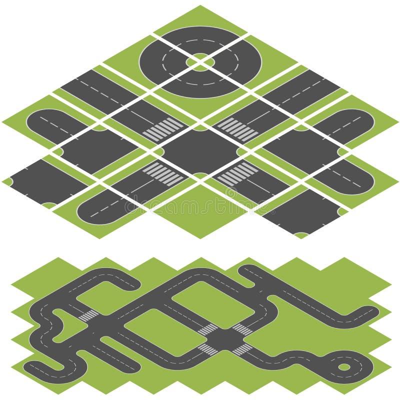 Isometrisk väg stock illustrationer