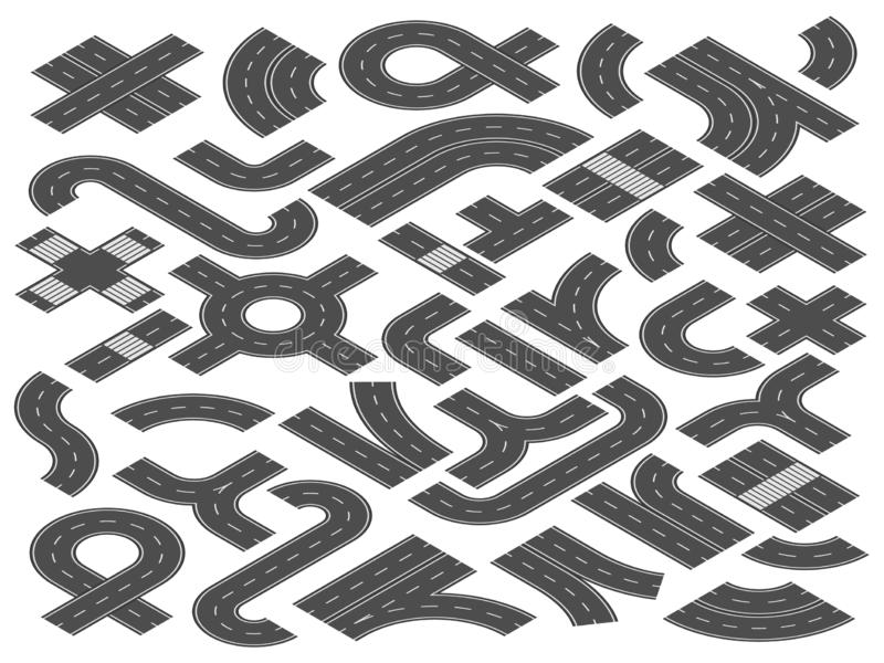 Isometrisk väg eller huvudväg Raksträckan som buktas och korsningen beståndsdelar för stadsgatavägar för resa kartlägger vektoril vektor illustrationer
