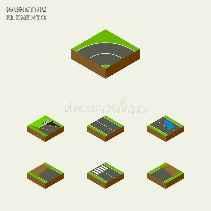 Isometrisk väguppsättning av lägenhet, remsa, tunnelbana och andra vektorobjekt Inkluderar också asfalt, gångtunnelen, Plashbestå stock illustrationer