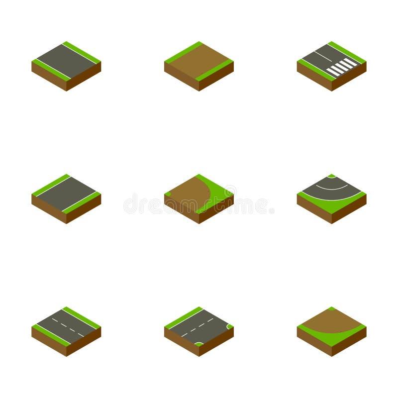 Isometrisk väguppsättning av vänd, rotation, ner och andra vektorobjekt Inkluderar också remsan, vänden, rotationsbeståndsdelar vektor illustrationer