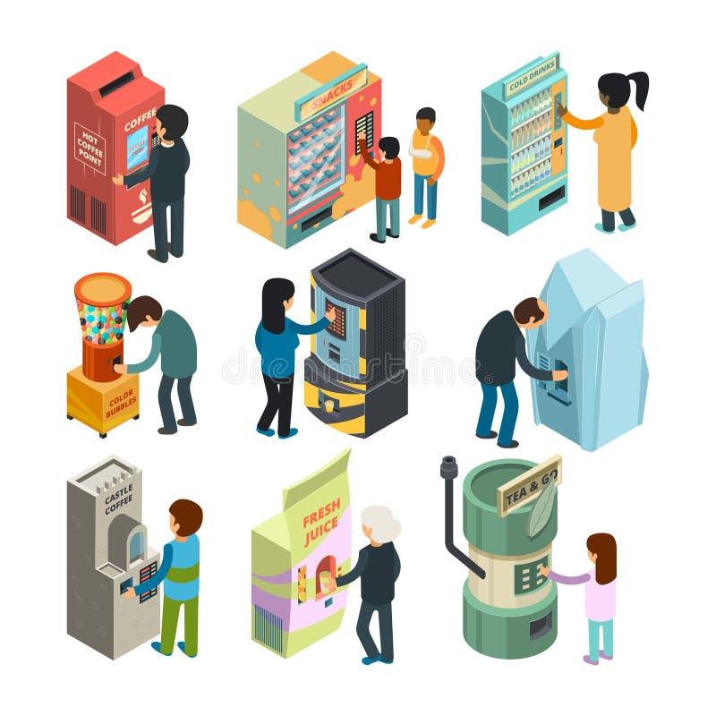 Isometrisk varuautomat Automatiskt vatten för kaffe för mellanmålsmörgåsglass shoppar köpande snabbmat och drinkar för folk vektor illustrationer