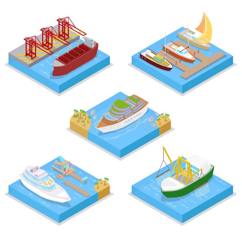 Isometrisk vattentransportuppsättning med kryssning och det industriella skeppet Segling och sändnings vektor illustrationer
