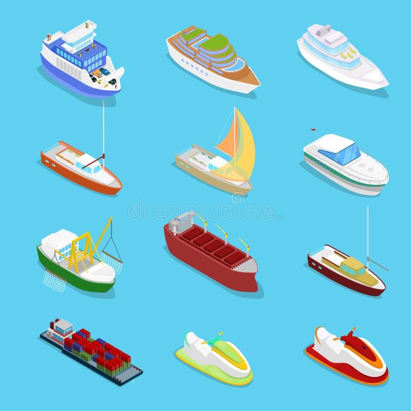 Isometrisk vattentransportuppsättning med kryssning och det industriella skeppet Segling och sändnings royaltyfri illustrationer