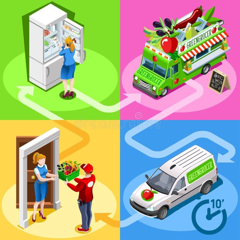 Isometrisk Vegetable Home Delivery för matlastbilgrönsakshandlare vektor royaltyfri illustrationer