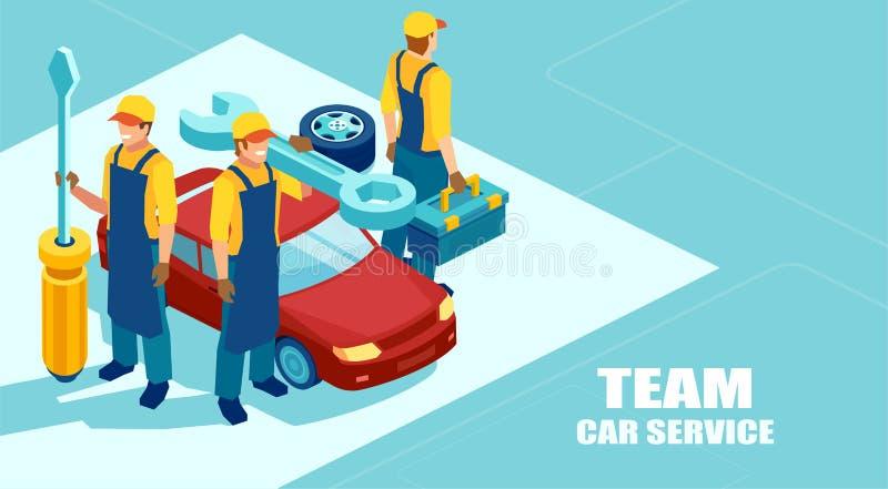 Isometrisk vektor av ett mekanikerlag, grupp av tekniker med en skruvmejsel som är klar att fixa en bil royaltyfri illustrationer