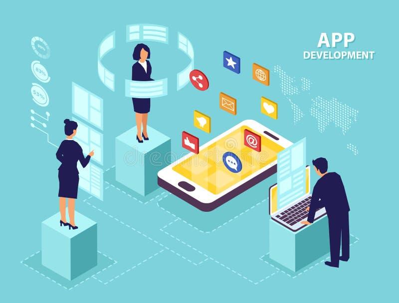 Isometrisk vektor av teknikerer för programvara för affärsfolk som framkallar nya mobila apps stock illustrationer