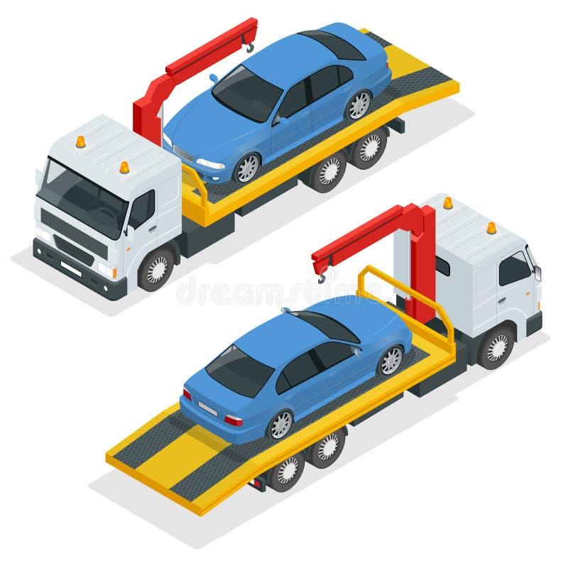 Isometrisk vektor för bärgningsbil Bil som framlänges bogserar illustrationen för lastbil 3d Bärgningsbil för trans.fel och nödlä vektor illustrationer