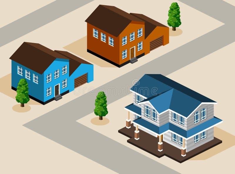 isometrisk vektor för hus stock illustrationer